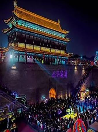陕西西安城墙新春灯会