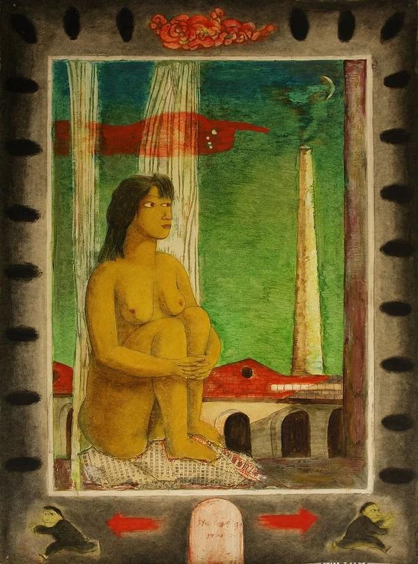 叶永青 《黄桷坪》 纸上油画,52.5 x 37.5 cm 1991年  图片由艺术家和余德耀基金会惠允