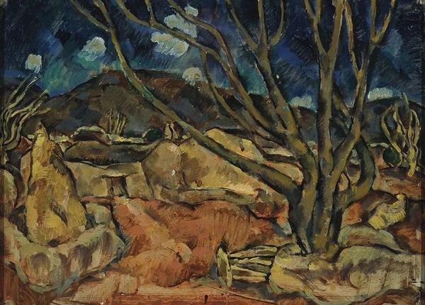 叶永青《圭山风景-冬日》纸上油画,38 x 53 cm  1983年  图片由艺术家和余德耀基金会惠允